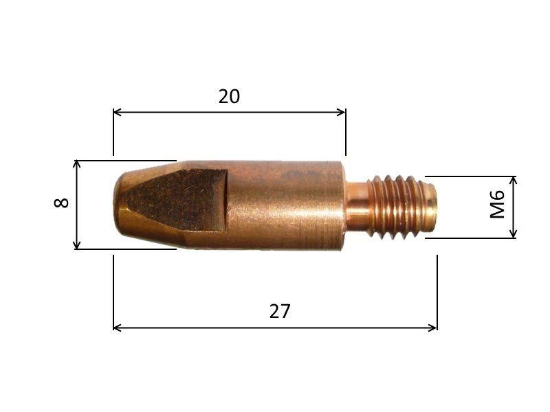 MB 0,8mm / 8mm / M6 - průvlak
