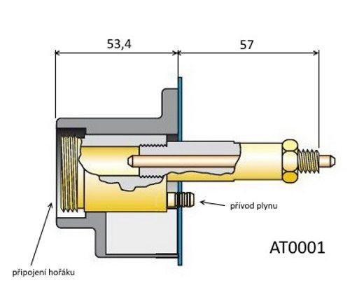 AT0001 zásuvka EURO kompletní, axiální ke svářečce MIG/MAG (CO2)