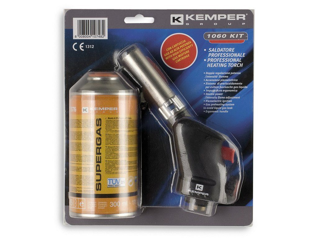 Kemper 1060 KIT hořák s piezo-zapalováním + 1 kartuše plynu Supergas 300ml, 1060KIT