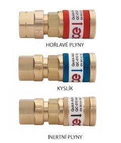 """Rychlospojka G 1/4"""" na redukční ventil, inertní plyn, samice, QC 10"""