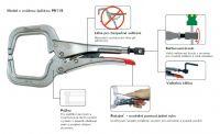 PR18 - C svěrka s rozsahem 254mm a otvorem 114mm, s oválnou špičkou