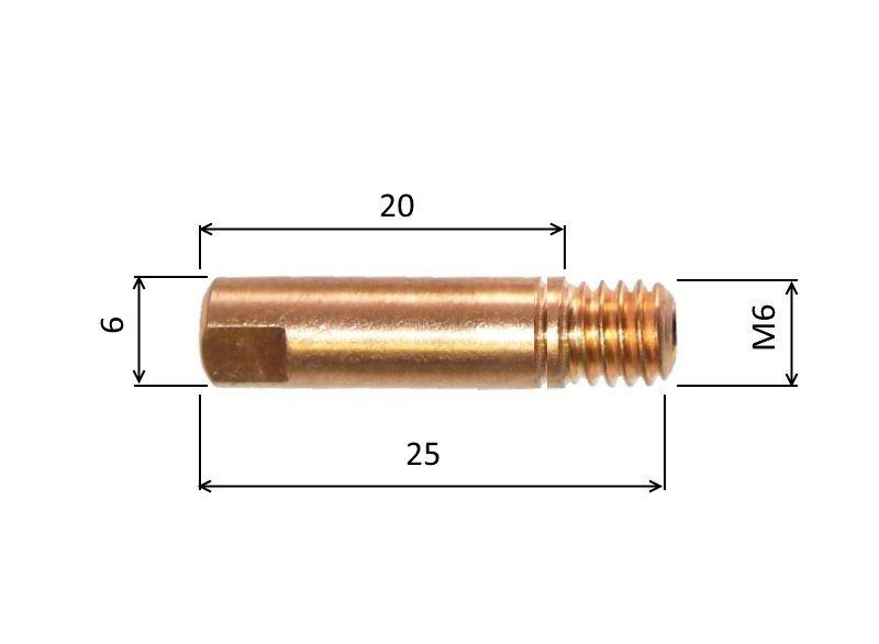MB 0,8mm / 6mm / M6 - zirkon průvlak CuCrZr, 140.0062